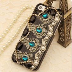 US$33.99 New Luxury Peacock Feather Design Rhinestone Pearl Hand Made Hard Case for iPhone 5. #Iphone #Peacock #Design #Pearl