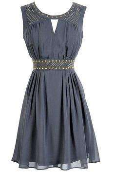 Gold Studded Chiffon Dress in Grey $40