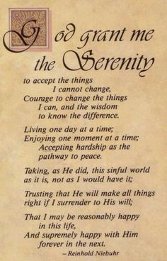 Serenity prayer- LOVE and APPRECIATE The Serenity Prayer!