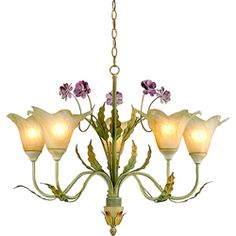 @Overstock - Chandelier adds a touch of elegance to your home decor  Five-light chandelier has a grass green fixture and flower shades  Lighting features iron construction in a swirly floral designhttp://www.overstock.com/Home-Garden/Hand-blown-Glass-5-light-Floral-Iron-Chandelier/3285764/product.html?CID=214117 $118.99