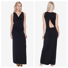 Black floor length Tart dress Cowl neckline and gathered waistline. Gorgeous back! Size small. No PP or trades. Will consider offers. Tart Dresses Maxi