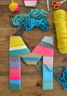 Diy Crafts : Cardboard Letters Wrapped With Yarn Made By Kids . DIY Crafts : Cardboard letters wrapped with yarn made by kids diy crafts for kids at home - Kids Crafts Diy And Crafts Sewing, Crafts To Sell, Yarn Crafts For Kids, Arts And Crafts For Teens, Craft For Tweens, Craft Ideas For Adults, Art Projects For Teens, Easy Arts And Crafts, Home Craft Ideas