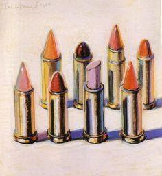 """sparklesandpretending:    juicycouture""""8 Lipsticks"""" by Wayne Thiebaud, 1964."""