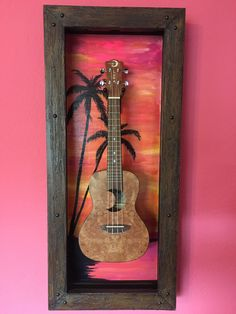 Guitar Display Case, Display Cases, Home Studio Music, Guitar Stand, Guitar Art, Blues Music, Frame, Painting, Interior Design