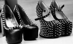 I have to have both of these shoes in my life! Goth Shoes, Ugly Shoes, Shoes Heels Boots, Heeled Boots, Stilettos, High Heels, Walk In My Shoes, Me Too Shoes, Pretty Shoes