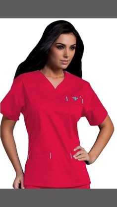 Med Couture Women's Sport Neckline Solid Scrub Top - Color featured here: Coral Reef/Belize - 55% Cotton, 42% Polyester, 3% Spandex #Scrubs | allheart.com