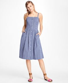 Gingham Cotton Poplin DressBlue