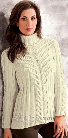 Белый свитер с рельефным узором, вязаный спицами