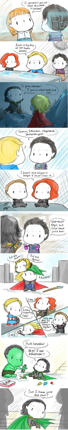Lil Avengers! This is the funniest/cutest/BEST thing I've ever read in my life! They're all so adorable!