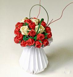 Origami Rose Bouquet in Origami Vase