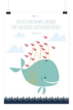 Kinder Poster – Wal – Christian kids poster with illustration of whale from heaven in the heart Christian Posters, Christian Kids, Wooden House Decoration, Hipster Hat, Baby Zimmer, Kids Poster, Happy Baby, Kid Beds, Kids And Parenting