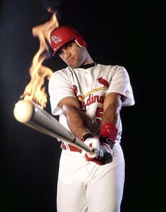 "Louis Cardinals first baseman Albert Pujols poses with a bat on fire in A All-Star and three-time NL MVP, ""The Machine,"" ""Prince Albert"" turned 36 years old on Jan. (Tom DiPace for SI) GALLERY: Classic SI Photos of Albert. Albert Pujols, St Louis Cardinals Baseball, Stl Cardinals, Baseball Park, Baseball Photos, Cardinals Players, Softball Players, Mlb Players, Sports Pictures"