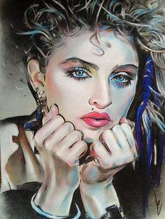 Madonna pastel drawing print, love the colors! Pastel Drawing, Pastel Art, Painting & Drawing, Celebrity Caricatures, Celebrity Portraits, Madona, Madonna Art, Lady Madonna, Cartoon Sketches