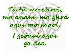 You are my heart, my soul, my love and my life. Always and forever. (In Irish - Gaeilge) Celtic Knot Tattoo, Celtic Tattoos, Gälische Tattoo, Gaelic Tattoo, Chest Tattoo, Irish Quotes, Irish Sayings, Gaelic Quotes, Jock