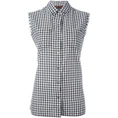 Diesel Sleeveless Checked Shirt (2.410 CZK) ❤ liked on Polyvore featuring tops, black, checked shirt, no sleeve shirt, diesel shirts, sleeveless tops and checkered shirt