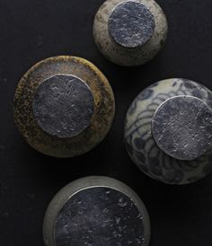 "yama-bato: "" small antique jars with metal lid by Yuichi Takemata http://analoguelife.com/blog/2012/11/metal-works-exhibition/ """