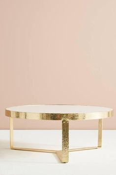 Lirit Hammered Brass Marble Coffee Table