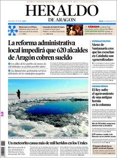 Los Titulares y Portadas de Noticias Destacadas Españolas del 16 de Febrero de 2013 del Diario Heraldo de Aragon ¿Que le parecio esta Portada de este Diario Español?