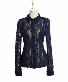 Retro Sheer Lace Shirt with Shoulder Epaulets