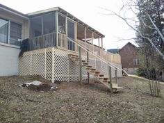 Large deck with screened in porch
