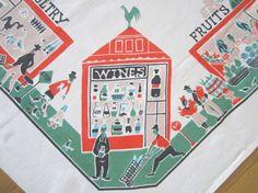 Vintage Market Tablecloth Mid Century Graphics at NeatoKeen
