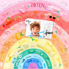 American Crafts Fun Rainbow Scrapbook Layout with Picnic in the Park by Amy Tangerine Scrapbooking Layouts, Scrapbook Paper, Digital Scrapbooking, Craft Projects For Adults, Craft Ideas, Scrapbook Organization, Picnic In The Park, American Crafts, Cool