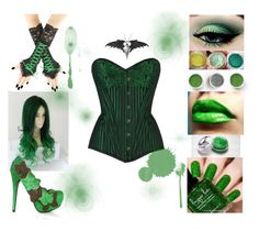"""Poison Ivy"" by srebrnisnijeg ❤ liked on Polyvore featuring women, poison, poisonivy, halloweencostume and DIYHalloween"
