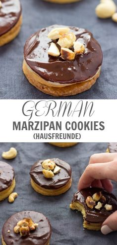 Classic German cookies with Marzipan (Hausfreunde) are incredibly delicious. These chocolate covered sandwich cookies are so perfect for Christmas gift or cookie exchange. German Christmas Cookies, German Cookies, Christmas Baking, Christmas Biscuits, Köstliche Desserts, Delicious Desserts, Dessert Recipes, Baking Recipes, Cookie Recipes