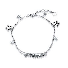 2016 New Classic Dangle Charm Pendant Bracelets Authentic 925 Sterling Silver Link Chain Stars & Flower Bracelet Jewelry.SVH032