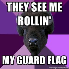 They see me rollin my guard flag...