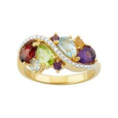 Adorned with clusters of colorful genuine gemstones and a diamond accent, this gold over sterling silver ring is a fascinating find. Diamond Jewelry, Gold Jewelry, Jewelry Rings, Jewelery, Diamond Rings, Morganite Engagement, Engagement Rings, Egyptian Jewelry, Cluster Ring