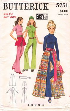 Size 10 Bust 31.5; Butterick 5751 easy; 1970s Vintage Sewing Pattern; 70s Misses Jumpsuit; 70s Misses Skirt; 70s Misses Sash by RoxyPoindexter