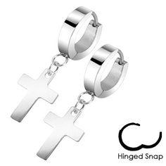 Faithful - Latin Cross Design Stainless Steel Hinged Hoop Earrings