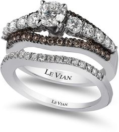 LeVian Le Vian Bridal Chocolate Diamond and White Certified Diamond Engagement Set in 14k White Gold (1-5/8 ct. t.w.)~Love the chocolate dimonds in this ring.