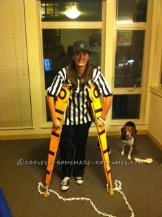 """Creative Football Referee Costume with """"Measuring"""" Crutches... This website is the Pinterest of costumes"""