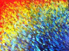 SALE - Original Abstract Acrylic Painting Colour Splash Water Ocean Waves Technicolor Multicolor Rainbow Art 16 x 20 Bright Summer Canvas. $115.00, via Etsy.