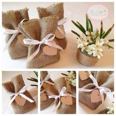 Burlap Wedding Favour Bags with wooden heart tag