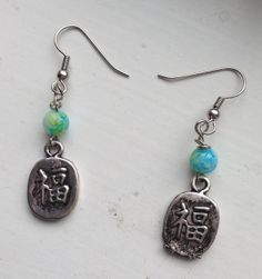Lucky Asian Charm Drop Earrings with Blue by goldenhandscreations, $12.00