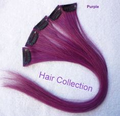 """Hair Collection-18"""" Purple 100% Human Hair Clip in on Extensions - 1.6""""widex5pcs by Hair Collection. $29.99. Make beautiful highligh for fun. human hair clip on in extensions. 18"""" Long x 1.6""""wide x 5pcs. Clip on in Extensions - Easy to use.. purple /wine red. Very beautiful European silky straight 100% human hair. You can use electric iron on it."""