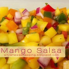 Mango Salsa.  Sweet with just a little bit of tangy, this pairs great with chips or use as a topping on burritos, tacos and nachos.  Also is delish right off a spoon.