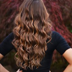 My new long brown hair with caramel highlights balayage
