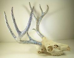 Deer Skull with Crystal Rhinestone Antlers | via Picmia from Etsy