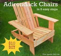 Easy, economical DIY Adirondack chairs: $10, 8 st... We built these lightweight, inexpensive Adirondack chairs from cedar fence boards. They don't require power tools o...