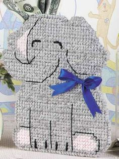 Plastic Canvas - Children's Corner - Kid Favorites - Baby Elephant Bank - Could also use for Alabama Roll Ride. All you would have to do is either add Roll Tide or an A on ear Plastic Canvas Stitches, Plastic Canvas Tissue Boxes, Plastic Canvas Crafts, Plastic Canvas Patterns, Baby Crafts, Toddler Crafts, Cardboard Box Crafts, Elephant Canvas, Sport Craft