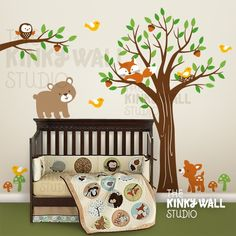 Forest animals wood decal