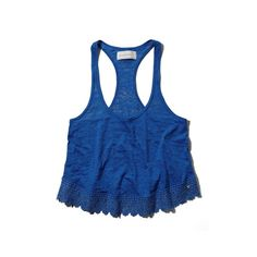 Abercrombie & Fitch Kali Tank (150 ZAR) ❤ liked on Polyvore featuring tops, shirts, blue, racerback tank, crop top, lace crop tank, racer back tank top and lace racerback tank