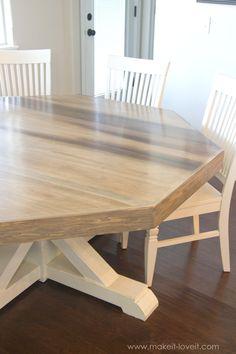 diy octagon dining room tablewith a farmhouse base. (seats 8