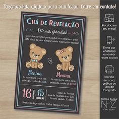 Convite digital Revelação Ursinhos Baby Jessica, Baby Shower Clipart, Clip Art, Invitations, Surprise Pregnancy, Gender Reveal Invitations, Mime Artist, Digital Art, Save The Date Invitations