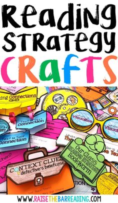 Reading Comprehension Strategies Crafts: Hands on Activities for Teaching Readin… Reading Comprehension Strategies Crafts: Hands on Activities for Teaching Reading Strategies – Raise the Bar Reading Reading Centers, Reading Workshop, Reading Activities, Reading Skills, Literacy Centers, Reading Intervention, Reading Groups, Reading Resources, Guided Reading