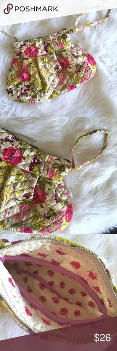 """❗️FINAL❗️Quilted Floral Wristlet Quilted Floral Clutch/Wristlet // 13"""" wide / 8.5"""" tall plus length of strap // zipper top // colors are pink, yellow, tan, purple, green, fuchsia // contrasting interior pattern with pink poppies, and lace decoration along top zipper // this is NOT Vera Bradley / no brand tag // non-smoking home // not my size. Can't model. // // Bundle Discounts!! // Same Day or Next Day Shipping!!  7.13.26 Bags Clutches & Wristlets"""